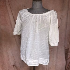 BCBG AS NEW white embroidered polk dots tunic top